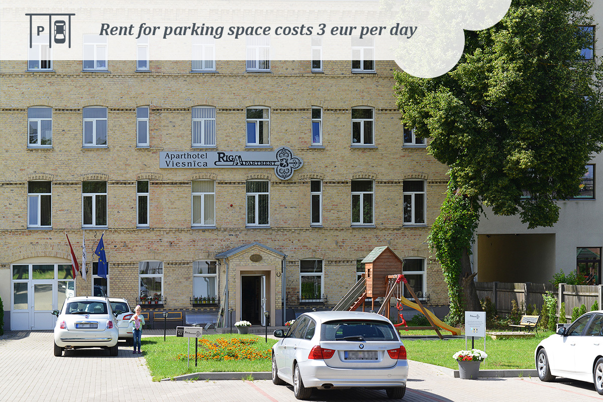 rent parking space costs three euro per day. Riga apartments.
